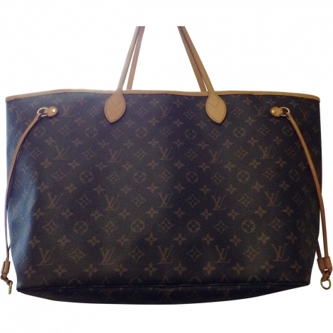Leather Handbag LOUIS VUITTON Neverfull Brown