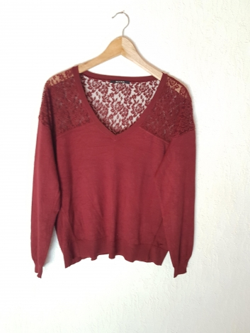 Pull KOOKAI Rouge, bordeaux