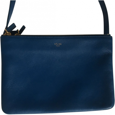 Leather Shoulder Bag CÉLINE Trio Blue, navy, turquoise