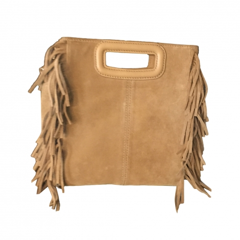 Leather Shoulder Bag MAJE Beige, camel