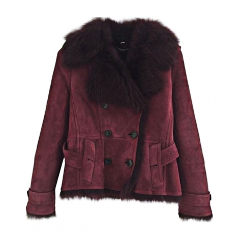Leather Jacket BURBERRY Red, burgundy